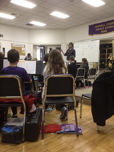 Students sitting in on a music education class at NKU.