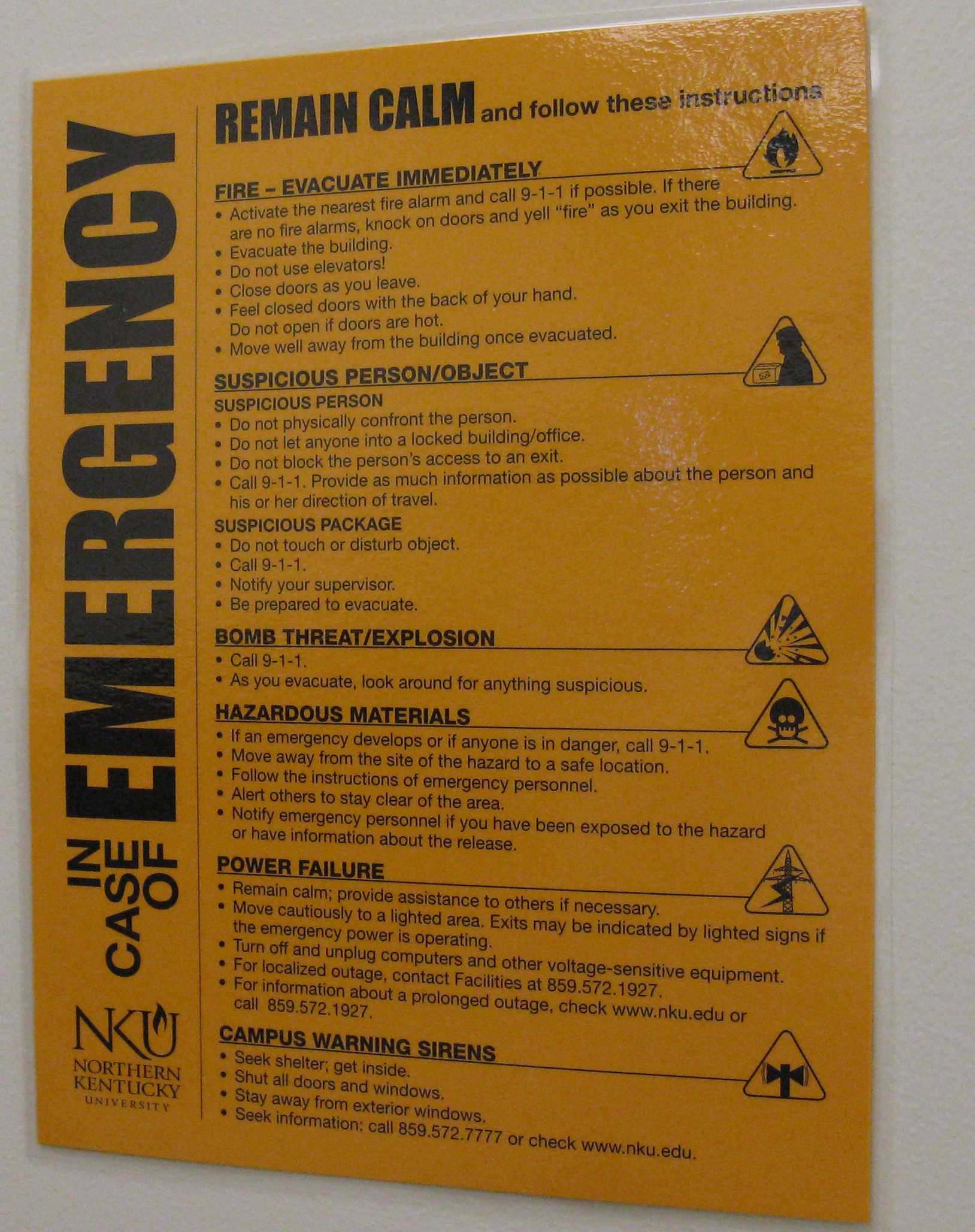 The emergency response signs posted throughout campus do not include specific instructions for a tornado threat, such as the advice to move to the lowest floor of the building. This information was also not communicated through the Norse Alert sirens when a tornado warning impacted the Northern Kentucky University campus on Oct. 28. Photo by Jesse Call.