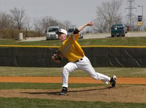 Baseball player one step ahead