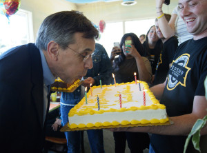 Students throw surprise party for pres.