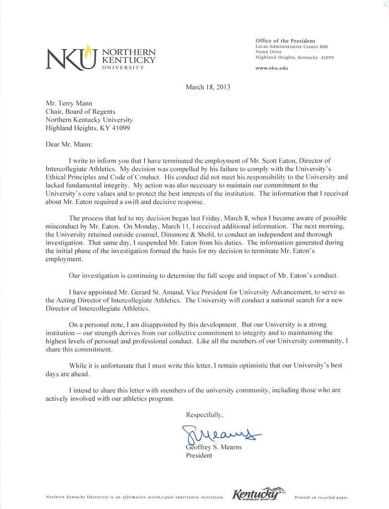 Letter to Board Chair