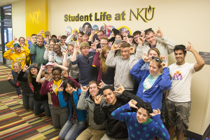 Photo by Marina Schneider NKU's students kept their Norse spirits up after volunteering for the city of Highland Heights as part of Spring into Service, an annual NKU's community service project.