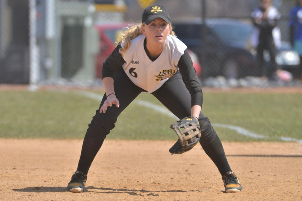 Sophomore infielder Nicolette Hayes goes to catch a ground ball last year in her first season as a Division 1 athlete.