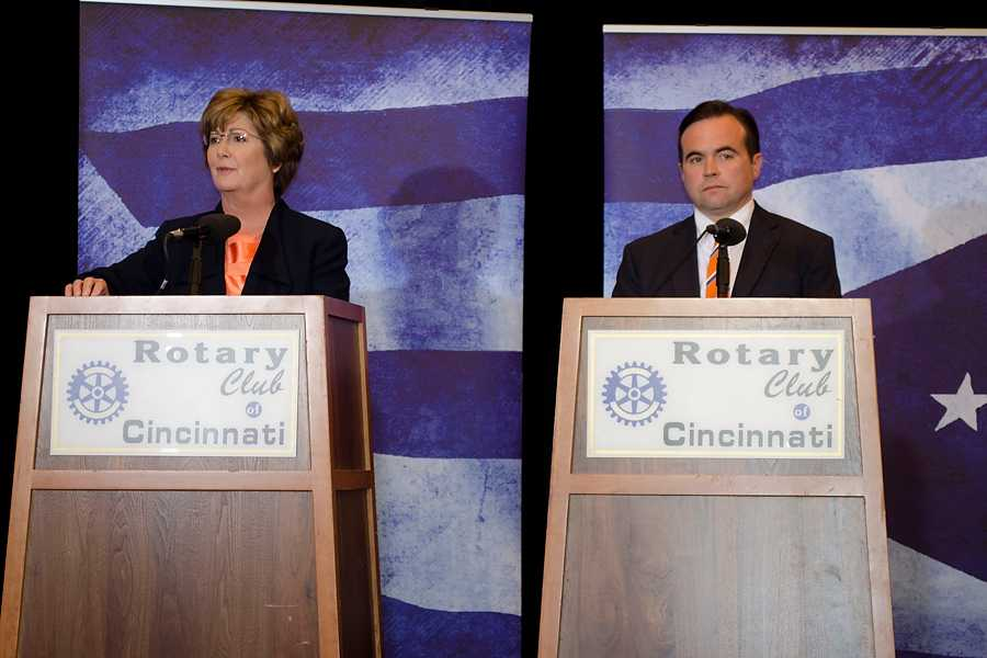 Cincinnati mayoral candidates Roxanne Qualls (left) and John Cranley (right) shared their viewpoints on several issues at their debate on Oct. 24. This  final Cincinnati mayoral debate took place at 12:30 p.m. at the Hyatt Regency Ballroom.