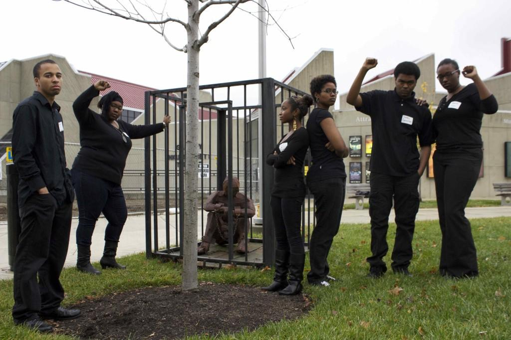 Members+of+the+Black+United+Students+organization+at+NKU+pose+on+campus.+Some+members+of+this+organization+have+recently+voiced+their+concerns+with+the+treatment+of+African-Americans+within+the+university.