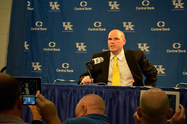 NKU+head+coach+Dave+Bezold+at+the+post-game+press+conference.