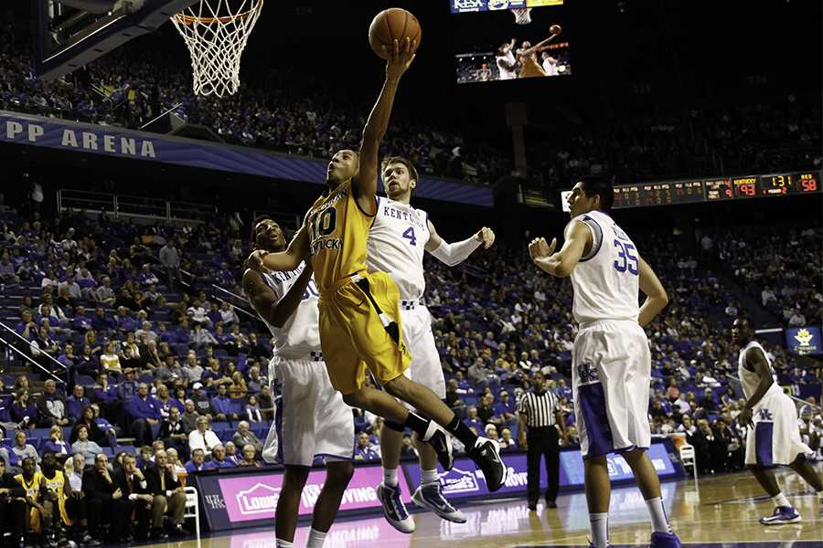 Sophomore guard Tyler White attempts lay-up against the Kentucky Wildcats on Nov. 10 at Rupp Arena.