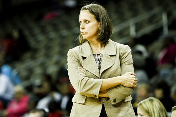 Head coach Dawn Plitzuweit coached the team against Cincinnati this season.