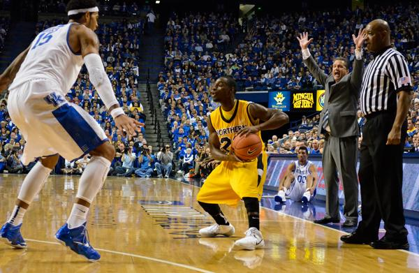 Sophomore guard Todd Johnson  running the point for the Norse against the University of Kentucky on Nov. 10, which aired regionally on Fox Sports South.