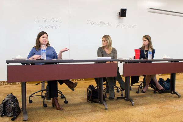 Tiffany Wilson, Kendall Herold,  and Amanda VanBenschoten spoke to students at the latest SPJ event.