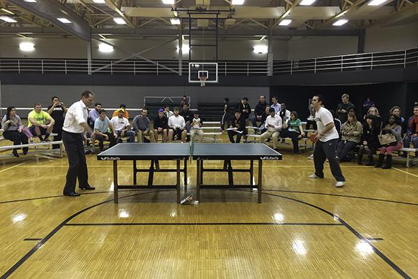 President Geoffrey Mearns faces NKU student and reigning pingpong champ, Matt Hepner.