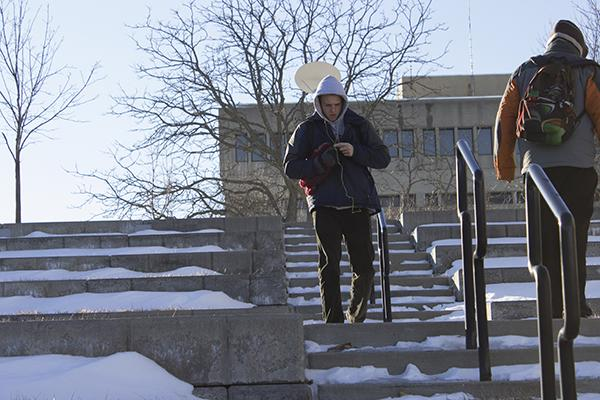 Students traveled up and down the ice and snow covered amphitheater stairs.