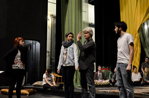 Arabian Nights director Brian Robertson gives his actors instructions.