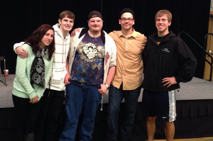 NKU Students pose with Derek Hughes after his performance on Jan. 13.