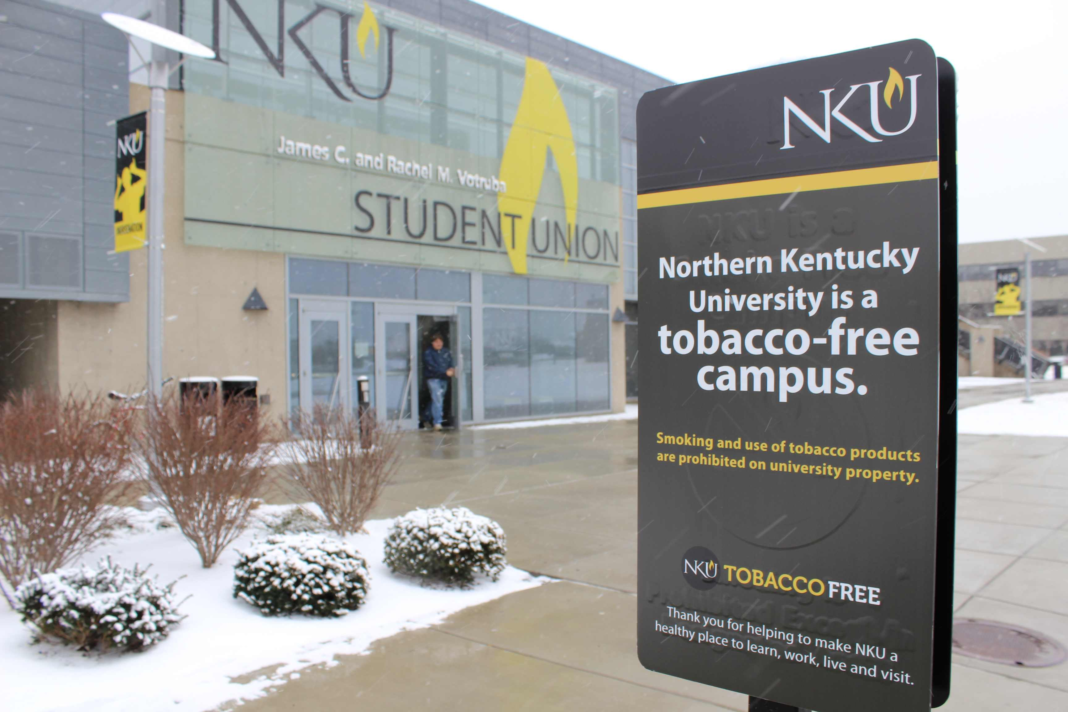 Tobacco-free marketing near one of many former smoking hot spots on campus. On January 1, 2014 Northern Kentucky University became a tobacco-free campus.