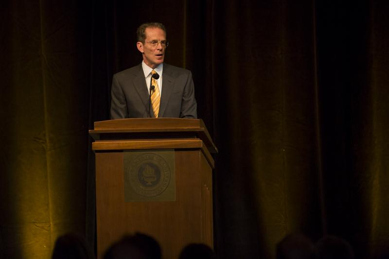NKU President Geoffrey Mearns delivers his Spring Convocation to NKU staff and students, explaining his ideas for the Strategic Plan for the upcoming years. The NKU Spring 2014 Convocation was held in the Student Union Ballroom on Friday, January 10, 2014.