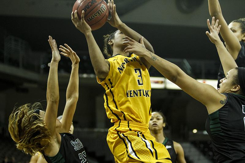 NKU's Lauren White who finished with 23 points, lays the ball up against Stetson Thursday night in a 90-66 loss at The Bank of Kentucky Center.
