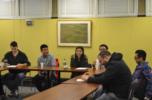 Students gather for the Chinese Chat. Together, they practice reading and speaking Chinese.