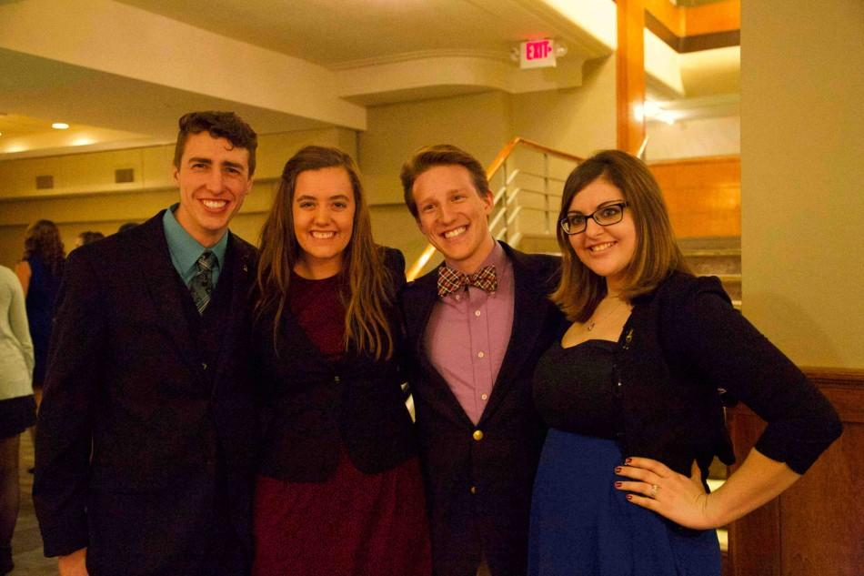 Nathan Garbig, Brandi Cunningham, Alex Bruce, and Katie Cox attend the Homecoming 2014 Gala.