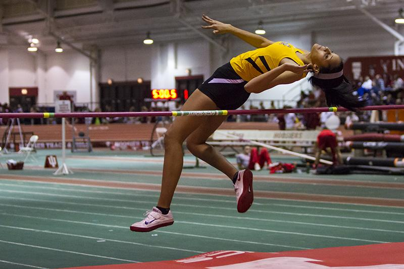 Sophomore Tyler Thomas competes in high jump during the indoor season last year at Indiana University.