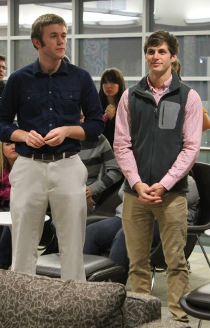 David Trump (left) and Justin Wynne (right) listen to the results of the 2014 SGA elections. The pair lost to Jose and Hahnel by a two-vote margin.
