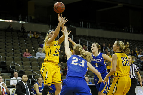 NKU women's basketball player Kayla Thacker shoots the ball against McNeese State, scoring 25 points and 8 rebounds during NKU's win in the first round of the WBI Tournament. NKU beat McNeese State 84-72 on March 20, 2014 at the Bank of Kentucky Center during the first round of the WBI Tournament. NKU plays College of Charleston at 7 p.m. Saturday, March 23, 2014 at TD Arena in Charleston, South Carolina.