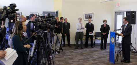President Geoffrey Mearns speaks at a press conference regarding the