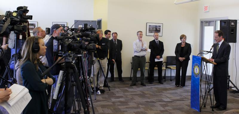 President+Geoffrey+Mearns+speaks+at+a+press+conference+regarding+the+%22closure%22+of+the+investigation+involving+former+athletic+director+Scott+Eaton.