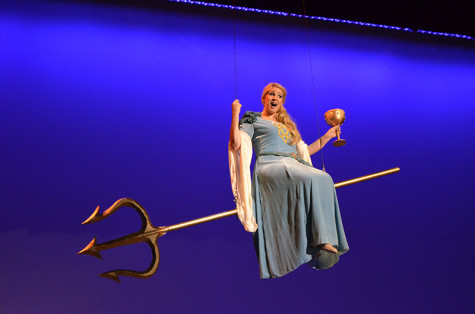 Kat Moser, who plays the Lady of the Lake, ascends into the skies on stage.