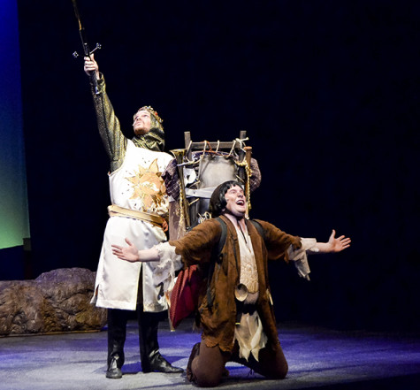 Two of the main actors of Spamalot at dress rehearsal. the show will begin its run of April 17.