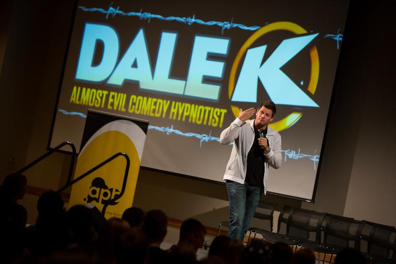 Dale K returned to Victor Fest bringing his hypnotist act to the stage. Student's filled the SU ballroom to witness the show Tuesday night.