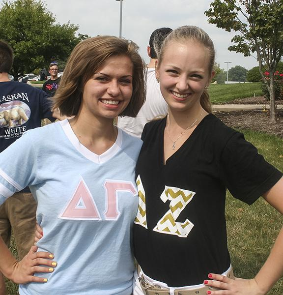 Sophomores Aubrey Franzen (left) and Emily Kappes (right) showing their Panhellenic spirit.