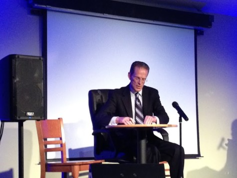 President Mearns writes 'Thank You Notes' in a Thursday Night Live skit. Mearns crashed the student comedy show Thursday night.