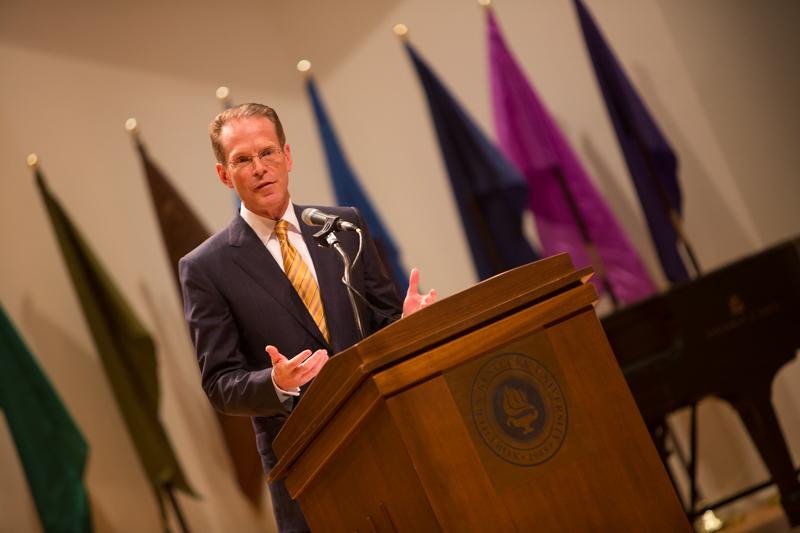 NKU President Geoffrey Mearns speaks about the coming year during his Fall 2014 Convocation. The NKU Fall 2014 Convocation was held in Greaves Hall on NKU campus on Friday, Aug. 15, 2014.