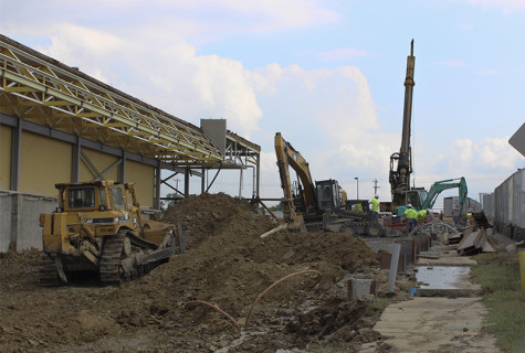 A water main break caused several buildings to close Monday, Aug. 18, 2014. The incident occurred when a backhoe struck the water line on the Campus Recreation Center construction site.
