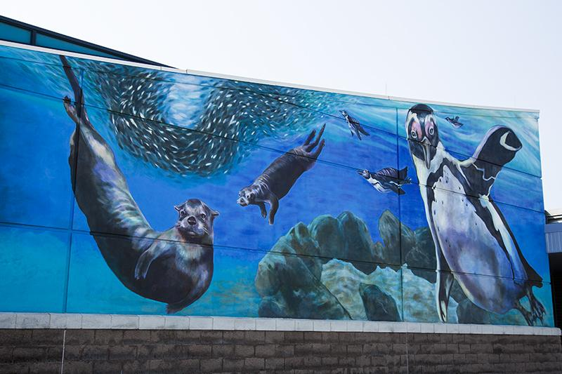 The far end of the mural at Newport on the Levee.