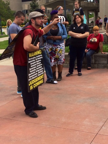 Jesse Morrell, religious advocate, preaches his gospel on NKU's campus.