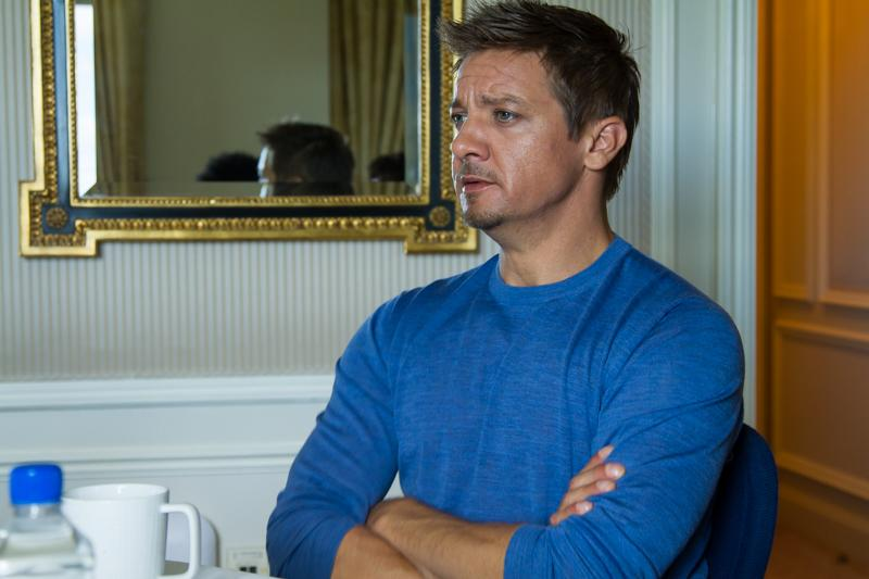 Jeremy Renner at the press event for 'Kill the Messenger' which we attended.