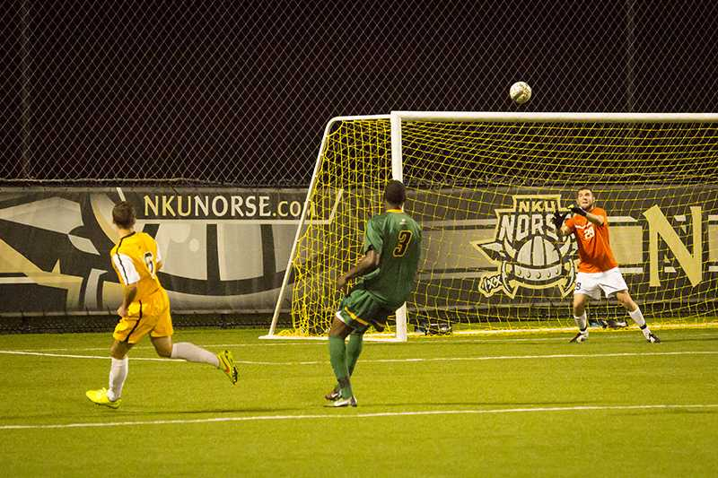 NKU player Cian McDonald scores the winning goal in NKU's come from behind overtime win on Tuesday night. The Norse beat Wright State 4-3 in overtime on September 23, 2014 at NKU Soccer Stadium.