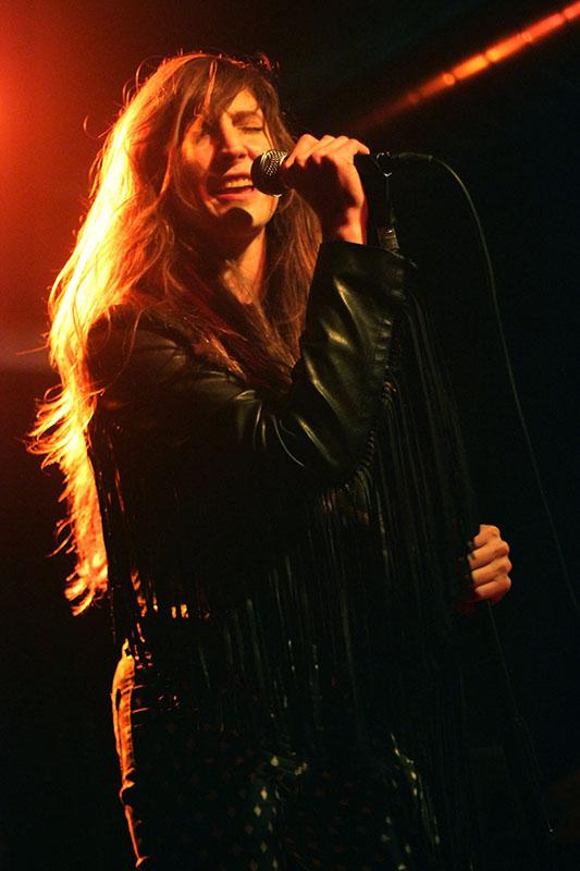 Lead singer Laura Dolan performs at a show in Cincinnati.