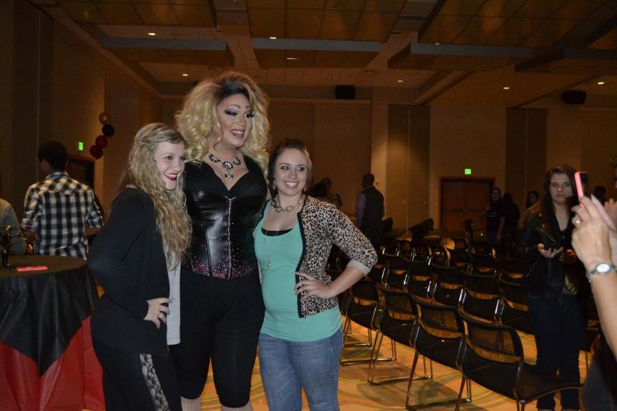 NKU sophomore Kaitlyn Sansome and friend pose with Sarah Jessica Darker, one of the drag queens who performed in the show.