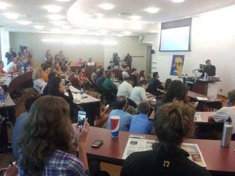 Student's and faculty gathered in Griffin Hall for a discussion with 'Kill the Messenger' director Michael Cuesta.