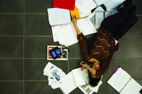 An NKU student stresses out over her work. Like many other students, she procrastinates, which leads to more stress.