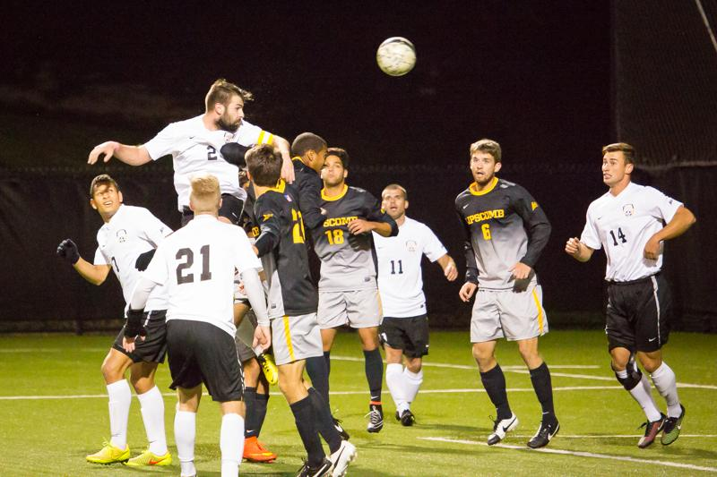 NKU%27s+Ian+O%27Reily+heads+the+ball+towards+the+goal+during+NKU%27s+overtime+scoreless+draw+against+Lipscomb.+NKU+tied+Lipscomb+0-0+at+NKU+Soccer+Stadium+on+Saturday+Oct.+4%2C+2014.