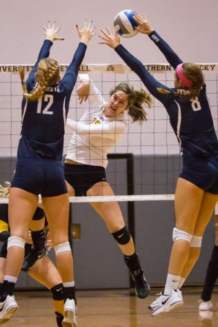 NKU's Jenna Ruble goes for the kill against North Florida. NKU defeated North Florida 3-2 coming from behind for the win in Regents Hall at Northern Kentucky University on Friday, Oct. 10, 2014.