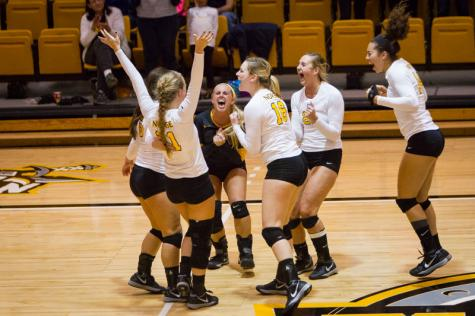 NKU celebrates their come from behind win against North Florida. NKU defeated North Florida 3-2 coming from behind for the win in Regents Hall at Northern Kentucky University on Friday, Oct. 10, 2014.