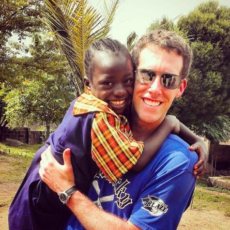 Jeff Iker with a child during his trip to Africa. Iker went to Nigeria and was concerned when her returned people would assume he got ebola.