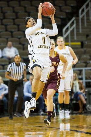 NKU redshirt sophomore Shar'Rae Davis catches the ball from a teammate during NKU's 38-45 loss to Loyola (Chicago). NKU lost to Loyola (Chicago) 35-45 at The Bank of Kentucky Center on Nov. 22, 2014.