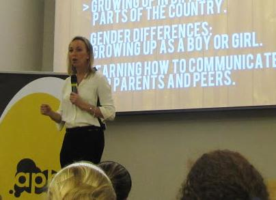 Hart speaks about gender differences to an audience at the Student Union Ballroom.
