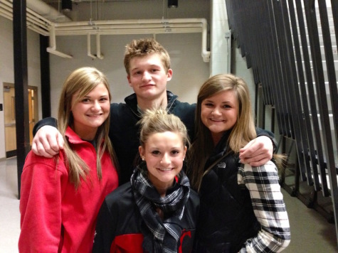 The Laumann siblings after their brother, Ben's, Senior Night in high school. Pictured: Front: Morgan Laumann; Back: Kelsey, Ben, and MacKenzie Laumann